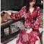 เสื้อผ้าแฟชั่นเกาหลี Lady Ribbon's Made Lady Monica Floral Patterned Printed Wrap Dress thumbnail 12