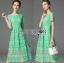 เสื้อผ้าแฟชั่นเกาหลี Lady Ribbon's Made Lady Penelope Elegant Feminine Minty Lace Maxi Dress thumbnail 6