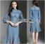 เสื้อผ้าแฟชั่นเกาหลี Lady Ribbon's Made Lady Lizzy High-Neck Ruffle Dark Blue Lace Dress thumbnail 3