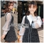 เสื้อผ้าแฟชั่นเกาหลี Lady Ribbon's Made Lady Marie Tweed Dress Over High-Neck Blouse Set thumbnail 2