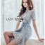 เสื้อผ้าแฟชั่นเกาหลี Lady Ribbon's Made Lady Sofia Graphic Two-Tone Baby Blue Dress thumbnail 7