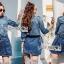 เสื้อผ้าแฟชั่นเกาหลี Lady Ribbon's Made Lady Sarah Street Chic Denim Shirt Dress with Ribbon-Belt thumbnail 1