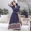 เสื้อผ้าแฟชั่นเกาหลี Lady Ribbon Thailand Normal Ally Present Bohemian print style chic summer dress thumbnail 1