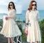 เสื้อผ้าแฟชั่นเกาหลี Lady Ribbon's Made Lady Nasha Sweet Classic White Lace Dress with Belt thumbnail 2