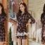 เสื้อผ้าแฟชั่นเกาหลี Lady Ribbon Thailand Seoul Secret Say's...Dress Scott Red&Black Style Korea thumbnail 4