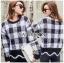 เสื้อผ้าแฟชั่นเกาหลี Lady Ribbon's Made Lady Cecil Tartan Weaves Knit Sweater thumbnail 8