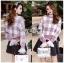 เสื้อผ้าแฟชั่นเกาหลี Lady Ribbon's Made Lady Cecil Tartan Weaves Knit Sweater thumbnail 5