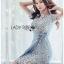 เสื้อผ้าแฟชั่นเกาหลี Lady Ribbon's Made Lady Sofia Graphic Two-Tone Baby Blue Dress thumbnail 10