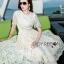 เสื้อผ้าแฟชั่นเกาหลี Lady Ribbon's Made Lady Nasha Sweet Classic White Lace Dress with Belt thumbnail 3
