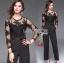 เสื้อผ้าแฟชั่นเกาหลี Lady Ribbon's Made Lady Francesca Smart Casual Vertical Stripes with Inserted Lace Jumpsuit thumbnail 3