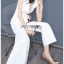 เสื้อผ้าแฟชั่นเกาหลี Lady Ribbon's Made Lady Rachel Smart Casual White Top with ColorfulRibbon and Side-Pleated Pants Set thumbnail 3
