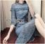 เสื้อผ้าแฟชั่นเกาหลี Lady Ribbon's Made Lady Lizzy High-Neck Ruffle Dark Blue Lace Dress thumbnail 6
