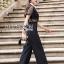 เสื้อผ้าแฟชั่นเกาหลี Lady Ribbon's Made Lady Cindy Collared Black & White Lace and Crepe Jumpsuit thumbnail 1
