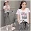 เสื้อผ้าแฟชั่นเกาหลี Lady Ribbon Thailand Lady Ribbon's Made Lady Diana Street Style Printed T-Shirt and Striped Pants Set thumbnail 2
