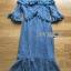 เสื้อผ้าแฟชั่นเกาหลี Lady Ribbon's Made Lady Lizzy High-Neck Ruffle Dark Blue Lace Dress thumbnail 9