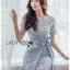 เสื้อผ้าแฟชั่นเกาหลี Lady Ribbon's Made Lady Sofia Graphic Two-Tone Baby Blue Dress thumbnail 5