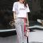 เสื้อผ้าแฟชั่นเกาหลี Seoul Secret Say's...Lace Gray Printed Stripes Shirt Set thumbnail 5