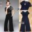 เสื้อผ้าแฟชั่นเกาหลี Lady Ribbon's Made Lady Cindy Collared Black & White Lace and Crepe Jumpsuit thumbnail 5