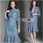 เสื้อผ้าแฟชั่นเกาหลี Lady Ribbon's Made Lady Lizzy High-Neck Ruffle Dark Blue Lace Dress thumbnail 2
