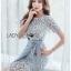 เสื้อผ้าแฟชั่นเกาหลี Lady Ribbon's Made Lady Sofia Graphic Two-Tone Baby Blue Dress thumbnail 4