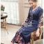 เสื้อผ้าแฟชั่นเกาหลี Lady Ribbon Thailand Lady Ribbon's Made Lady Claire Modern Hippie Flower Embroidered Navy Crepe Long Dress thumbnail 4