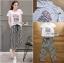 เสื้อผ้าแฟชั่นเกาหลี Lady Ribbon Thailand Lady Ribbon's Made Lady Diana Street Style Printed T-Shirt and Striped Pants Set thumbnail 4