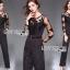 เสื้อผ้าแฟชั่นเกาหลี Lady Ribbon's Made Lady Francesca Smart Casual Vertical Stripes with Inserted Lace Jumpsuit thumbnail 2