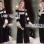 เสื้อผ้าแฟชั่นเกาหลี Lady Ribbon's Made Lady Victora Minimal Chic Striped Blue and Belted Overall Jumpsuit Set thumbnail 1