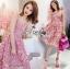เสื้อผ้าแฟชั่นเกาหลี Lady Ribbon's Made Lady Alisa Baby Pink Guipure Lace Single Dress thumbnail 2