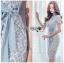 เสื้อผ้าแฟชั่นเกาหลี Lady Ribbon's Made Lady Sofia Graphic Two-Tone Baby Blue Dress thumbnail 9