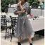 เสื้อผ้าแฟชั่นเกาหลี Lady Ribbon's Made Lady Michell Korean Style Checked Cotton Ruffle Dress thumbnail 1