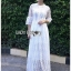 เสื้อผ้าแฟชั่นเกาหลี Lady Ribbon's Made Lady Mia Princess White Lace Maxi Dress thumbnail 4