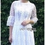 เสื้อผ้าแฟชั่นเกาหลี Lady Ribbon's Made Lady Mia Princess White Lace Maxi Dress thumbnail 5