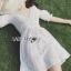 เสื้อผ้าแฟชั่นเกาหลี Lady Ribbon's Made Lady Victoria Casual Holiday White Cotton Dress thumbnail 4