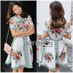 Blossom Lady Ribbon Printed Mini Dres