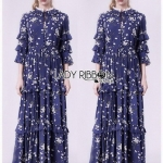 Navy Blue Chiffon Ruffle Maxi Dress