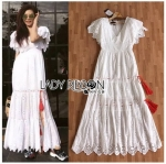 Dress เดรสยาวผ้าคอตตอนสีขาวปักและฉลุลายดอกไม้