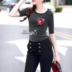 เสื้อทรงแขนสั้นปักดอกกุหลาบสีแดง