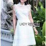 White Flower Lace Lady Ribbon Mini Dress