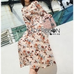 Lady Anne Autumn Flower Printed Chiffon Dress