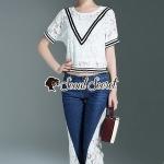เสื้อสีขาว+กางเกงสียีนส์