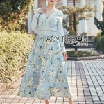 Lady Eva Flower Blossom Baby Blue Maxi Dress