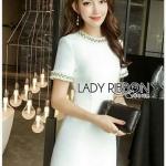 White tweed Lady Ribbon Cocktail Dress