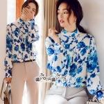 เสื้อเชิ้ทสไตล์ Vintage ลุคสาวเกาหลีคอเสื้อเป็นทรงคอตั้ง
