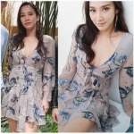 Chiffon Dress เดรสผ้าชีฟองพิมพ์ลายดอกไม้สีน้ำเงิน