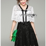Black and White Lady Ribbon Lace Dress