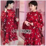 Printed Red Peplum Dress เดรสผ้าเครปสีแดง