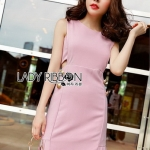Chic Side-Button Body Lady Ribbon Dress