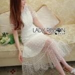 Maxi Dress เดรสยาวสีขาวปักดอกเดซี่