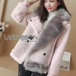 Faux Fur and Suede Lady Ribbon Jacket